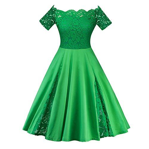 Amphia - Damen große Größe einfarbig Spitze Nähen sexy Spitze EIN-Schulter-Kleid,Frauen Plus größe Feste Spitze Patchwork Kurzarm Party cocktailkleid(Grün,XXXXXL)
