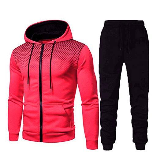 Acook Trainingspak voor heren, joggingpak, sportpak + hoodie voor mannen, trainingspak, set vrijetijdspak met ritssluiting en capuchon en zakken, hoodie-sportbroek, tweedelig