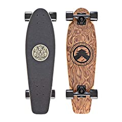 28-Inch Exotic Spalted Pearwood Deck with 7 Ply Canadian Maple Core. Custom pinstripe design with beautiful finish. With a large kicktail and just the right amount of concave, this board is effortless to ride. Laser cut griptape locks your feet on th...