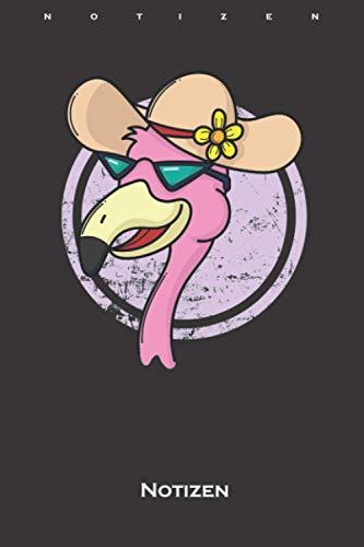 Flamingo im Urlaub mit Sonnenhut Notizbuch: Kariertes Notizbuch für Freunde und Fans des rosa Vogels