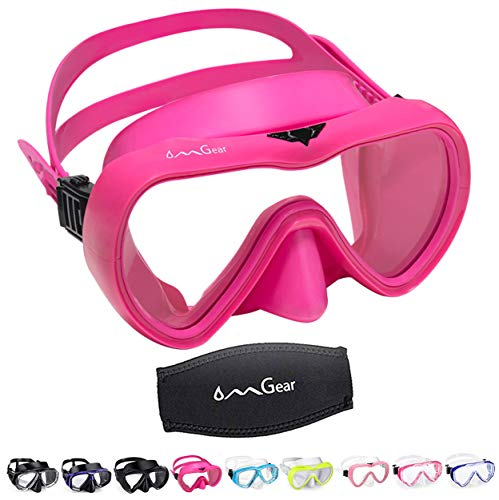 OMGear Diving Mask Snorkeling Gear Kids Adult Snorkel Mask Dive Goggles Silicone Swim Glasses Scuba Free Diving Spearfishing Anti-Leak Anti-Fog Neoprene Strap Cover Impact Resistance (Rose-Adult)