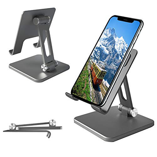 CellPhone Stand, Adjustable & Sturdy Aluminium Metallic Phone Holder Stand for Desk, Fully Foldable Portable Stand Holder for iPhone,iPad, Mobile Phone, Android Smartphone,Kindle,Tablet