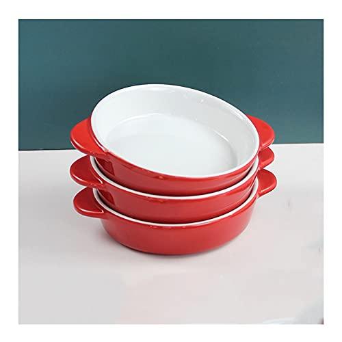 YAOLUU Bandeja para Pizza Conjunto de 3 Platos de Hornear au gratinada, Pan de lasaña, Pan de Porcelana para la lasaña de la Cocina Las cacerolas para Hornear con Asas, Rojo Platos para Pizza