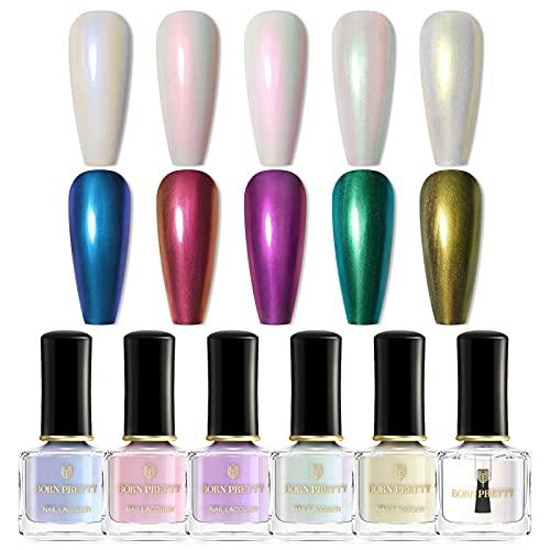 BORN PRETTY Vernis À Ongles Art Perle Sirène Polonais Transparent Shell Glimmer Laque Brillant Shimmer Manucure Vernis
