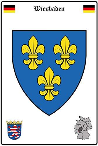 NWFS Stadt Wiesbaden Wappen Straßen Blechschild Metallschild Schild Metal Tin Sign gewölbt lackiert 20 x 30 cm