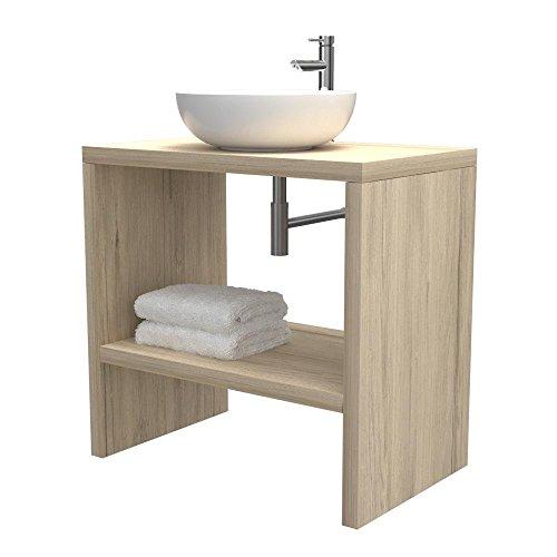 Mobiletto bagno a terra - Mensola lavabo portaoggetti, anche su misura, in 9 diverse colorazioni design 100% made in italy, per bagno e lavabi d'appoggio (Quercia sherwood, L80 - P50 - H78 cm)