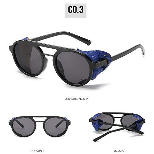 Gafas de Sol Sunglasses Nuevas Gafas De Sol Steampunk Hombres Mujeres Gafas De Sol con Escudo Lateral Redondo Vintage Moda Femenina Leopard Punk Gafas Uv400 C3Bluegrey