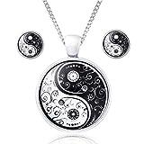 klimisy – yin yang set di gioielli con collana e orecchini – con ogni acquisto pianta un albero. - collana di alta qualità in acciaio inox con orecchini in vetro – yoga-talisman.