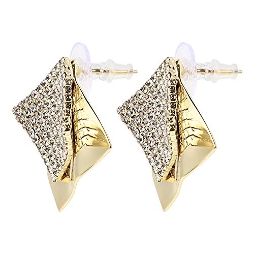 Amosfun 1 par de pendientes geométricos para mujer, orejas, adornos, color amarillo