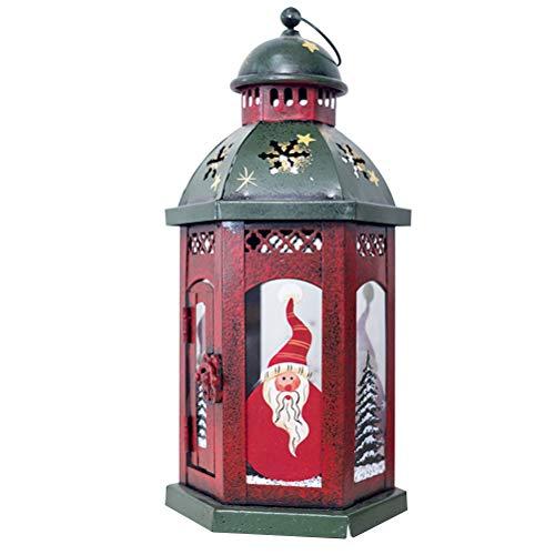 Bestoyard lanterne di Natale vintage portacandele con Babbo Natale lanterna da appendere Natale tavolo decorazione