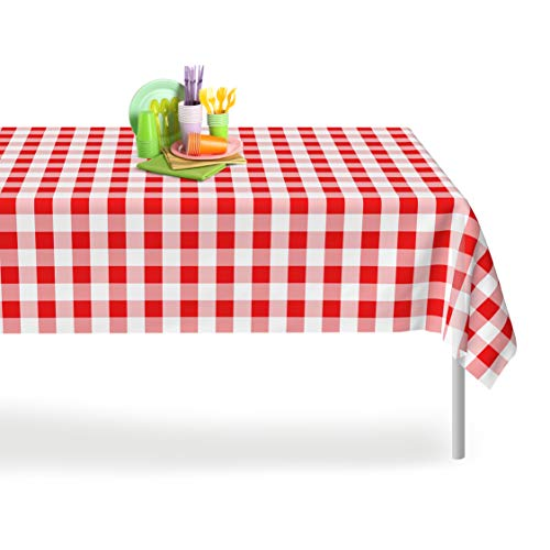 Red Gingham Checkered 12 Pack Premium Disposable Plastic Picnic Tablecloth 54 Inch x 108 Inch. Rectangle Table Cover By Grandipity