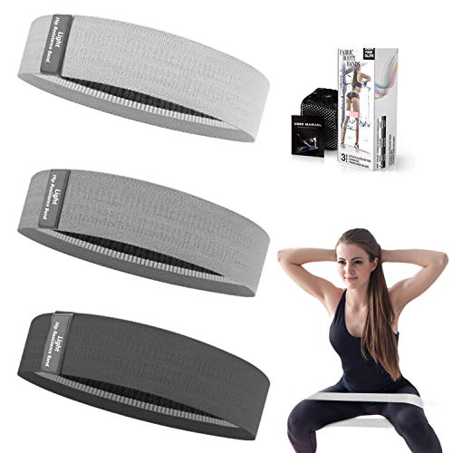 Whatafit Booty Workout Bands, Non Slip Resistance Bands for Legs and Hip, Fabric Resistance Exercise Bands Set with 3 Resistance Levels for Men and Women(White & Grey & Black)