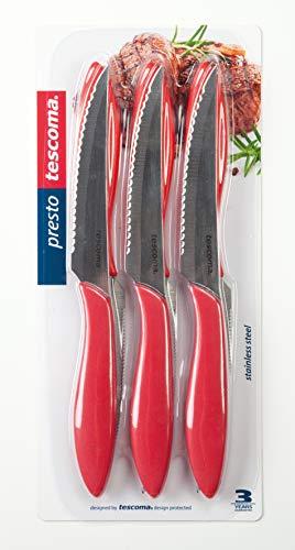 Tescoma 863056.20 Couteau à Steak, Acier Inoxydable, Rouge, 6 unités