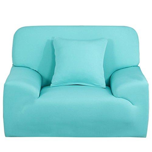YeVhear - Funda de sofá extensible para sofá o sofá, funda de sofá de poliéster elástico con funda de almohada (azul claro, pequeño)