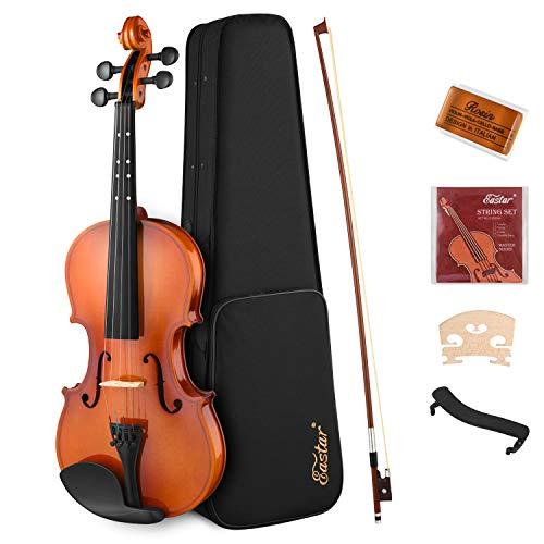 Eastar Violine 4/4 für Anfänger Geige Kinder Violine Set mit Hardcase Schulterstütze Bogen Kolophonium Geige Brücke und Saiten (EVA-2)