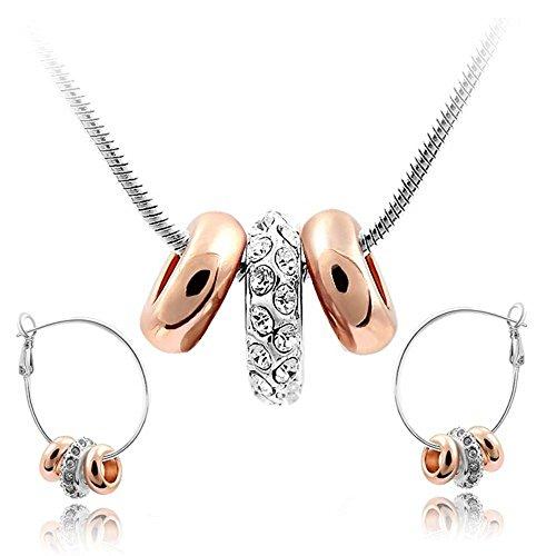 Blanco Crystals from Swarovski Juego de joyas Collar con colgante 45 cm Pendientes 18k Chapado en oro blanko y rosa para mujer