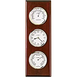 Howard Miller Shore Station Wall Clock 625-249 – Thermometer & Barometer, Quartz Movement