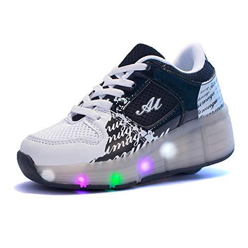 MNVOA Unisex Kinder Mode LED Schuhe mit Rollen Drucktaste Einstellbare Skateboardschuhe Outdoor Gymnastik Turnschuhe Für Junge Mädchen,Schwarz,35EU