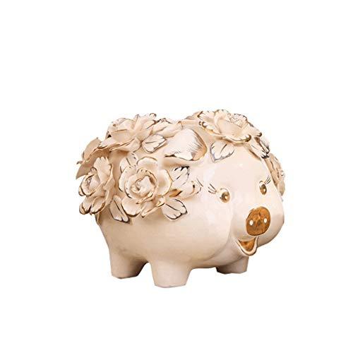 JINLIAN205-SHOP huchas Hucha de cerámica con la Flor Creativo Hucha Caja de Moneda Smooth rechoncha Hucha huchas electronicas (Size : L)