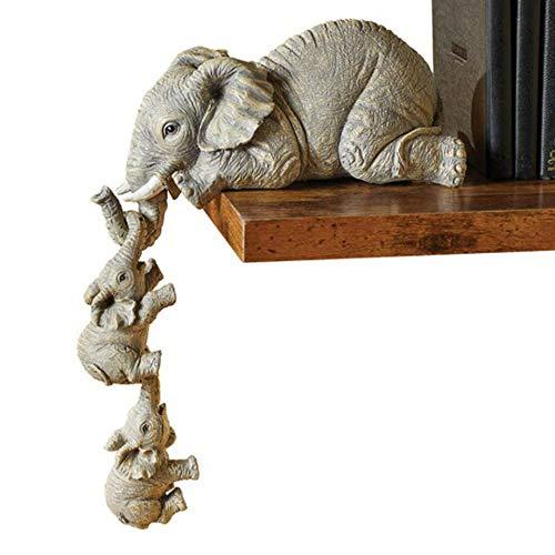 Elephant Shelf Sitter Sculpture - Set of 3 Elephant Mother Two Babies Hanging 7' Resin Elephants Family Figurine Sculpture Decor Gifts