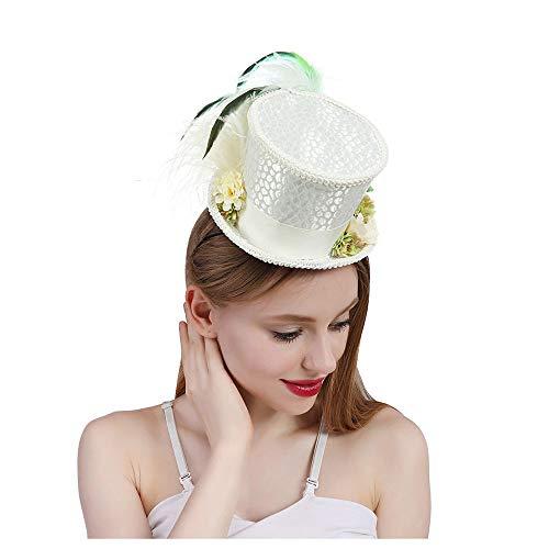 Dream Edge Sommerhut im Freien Lustige Partyhüte weißer Minispitzenhut-Tee-Hut wütender Hutmacher-Brauthut Kentucky Derby-Hut (Farbe : Weiß, Größe : 25-30cm)