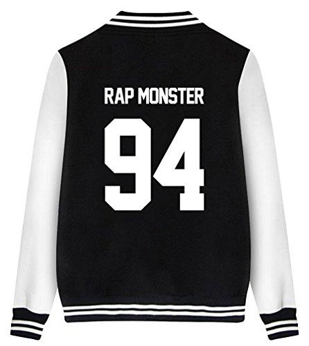 ShallGood Mode Bedruckt Unisex Baseball Jacket KPOP Tops Fans Suga Jin Jimin Jung Kook J-Jope V Rap Monster Rap MONSTER-94 Schwarz DE 36
