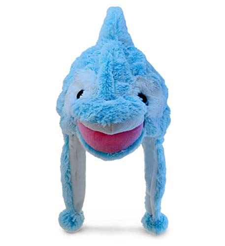 DolliBu Blue Dolphin Plush Hat - Super Soft Warm Hat With Ear Flaps  Funny Plush Party Crazy Hat  Stuffed Animal Dolphin Halloween Costume Toy Hat  Cozy Fleece Winter Hat For Kids & Teens - One Size