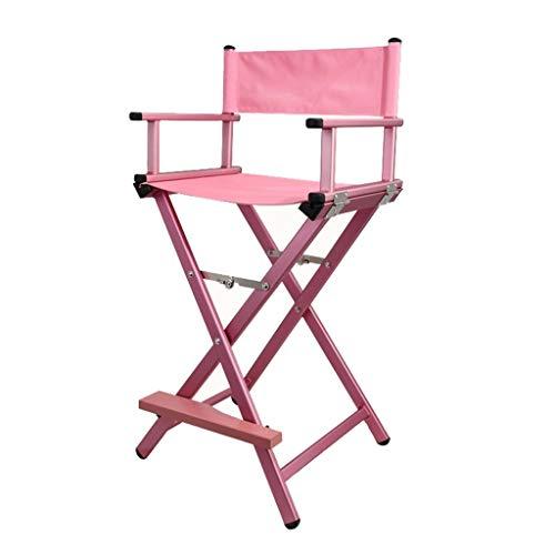 VAIY Makeup Artist Chair, Aluminium Lightweight Strong Folding Professional Makeup Artist Director Chair (Color : Pink)