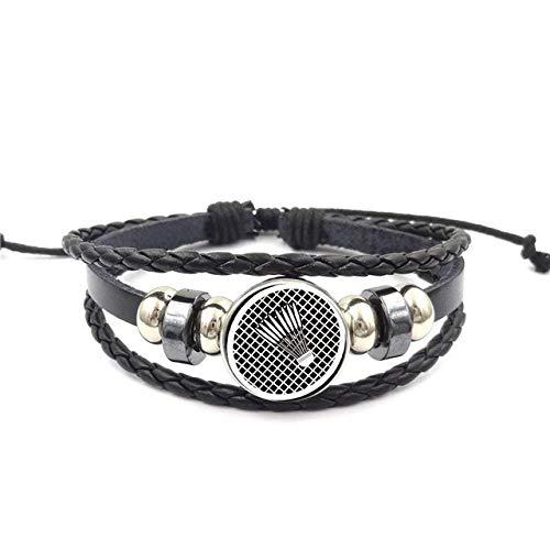 Vintage Badminton Schmuck Schwarzes Leder Armband Armreif Schmuck Kristall Geschenk Für Mädchen Männer Frauen