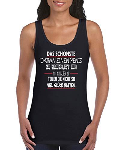 Comedy Shirts - Das schoenste daran einen Penis zu haben. - Damen Tank Top - Schwarz/Weiss-Rot Gr. L