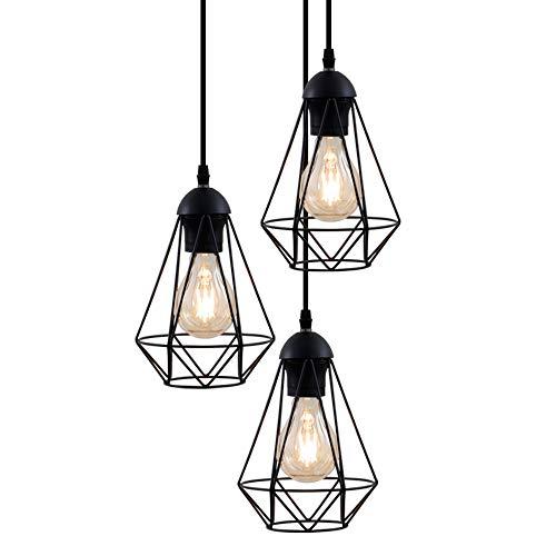 B.K.Licht Lampadario vintage, 3 punti luce, adatto per lampadine E27 non incluse max 40W, altezza totale 1.35m, metallo nero, lampada a sospensione per sala da pranzo, stile industriale IP20