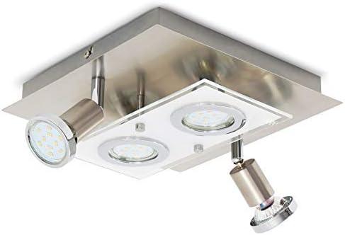 B.K.Licht plafonnier LED moderne 4 spots dont 2 orientables, ampoules LED GU10 3W, éclairage intérieur, métal & verre...