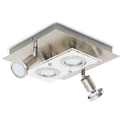 B.K.Licht I schwenkbare LED Deckenleuchte I warmweiß I inkl. 4x 3W 250lm GU10 I IP20 I Deckenlampe