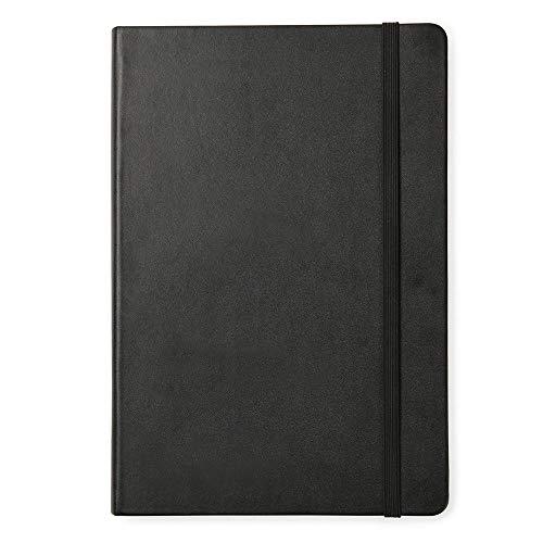 QIF Hardcover Qualitätspapier Gerade Linie Notizbuch,Premium Dickes Papier Notizblöcke,Kunstleder/PU Leder Schreibheft,Gummiband A5 schwarz notebook 15 * 21.5cm