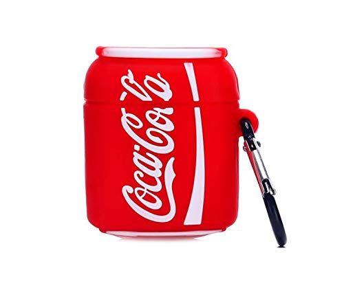 Airpod Case,CoolKz Ultra Thick Cocacola Coke Full Protective Silicone Skin Airpods Cases with Keychain,Compatible with Airpods 1&2 Case,Cute 3D Cartoon Charging Case (Red Coke)