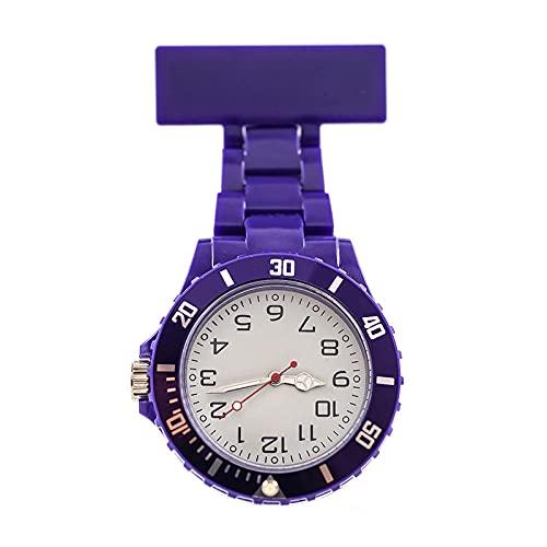 YYMY Reloj de Bolsillo con Colgante,Reloj de Bolsillo para Enfermera con Puntero de luz Nocturna, Pecho de médico Neutro Grande, Morado