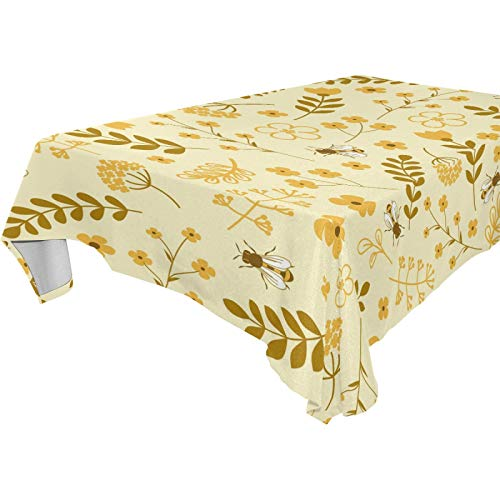 LUCKYEAH Flower Leaf Bee Pattern Table Cloth Washable Square Table Cover Polyester Tablecloths Rectangular for Indoor Patio Kitchen Picnic Outdoor, 54x54inch