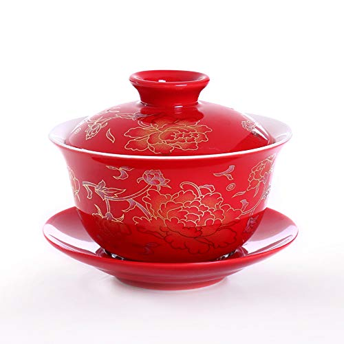Rote Keramik Porzellan Tee Schüssel, Handgemalte Pfingstrose, Chinesisch Tee Schale Mit Deckel und Untertasse, Für Hochzeits Geschenk und Haushalt