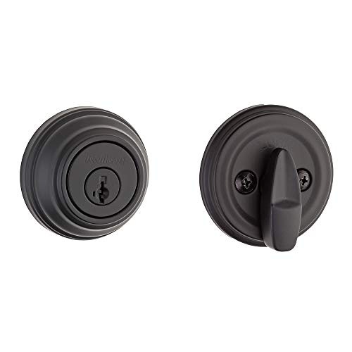 Kwikset 99800-0097 980 Single Cylinder Traditional Round Deadbolt Door Lock Set featuring SmartKey Security in Iron Black