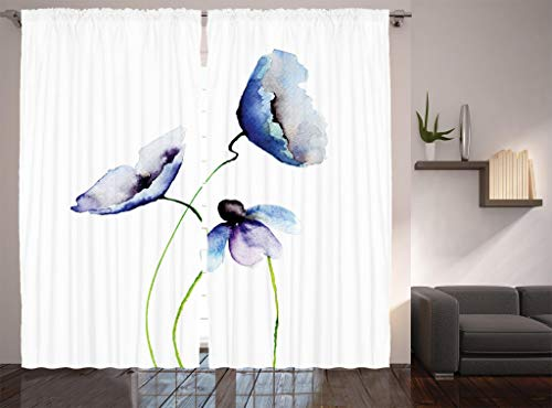 Ambesonne Watercolor Flower Decor Collection, Poppies Wildflowers Blooms in Watercolor Painting, Window Treatments, Living Room Bedroom Curtain 2 Panels Set, 108 X 84 Inches, Navy Blue White Green