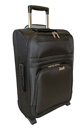 Aerolite Ultra Lightweight 2 Wheel Travel Trolley Carry On Hand Cabin Luggage Suitcase, Approved for Ryanair, easyJet, British Airways, Flybe, Wizz Air and Many More, Black