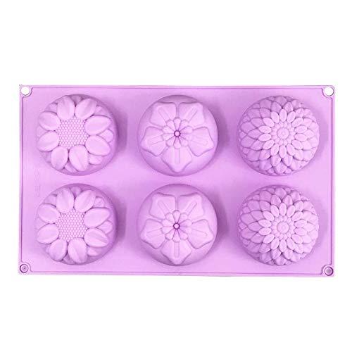 6 fori a forma di fiore stampo in silicone a mano candela di cottura della torta di sapone Stampi...