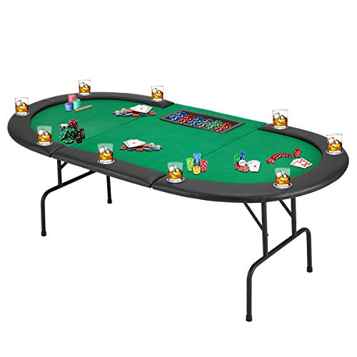 ECOTOUGE Poker Table w/Stainless Steel Cup Holder for 9 Player w/Leg, Casino Leisure Table Top Texas Hold 'Em Poker Play Table, Green Felt