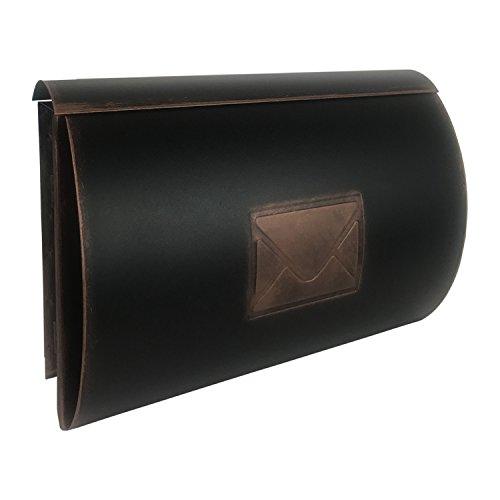 Mojawo Wandbriefkasten Briefkasten Postkasten mit Zeitungsfach Front Post Wandmontage Kupfer Antik-Look Tür Rechts