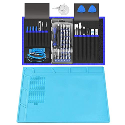 XOOL 80 in 1 Precision Screwdriver Set & Heat Insulation Silicone Repair Mat(13.7''×9.76''), Professional Electronics Repair Tool Kit for Repair Cell Phone, iPhone, iPad, Watch, Tablet, PC, MacBook