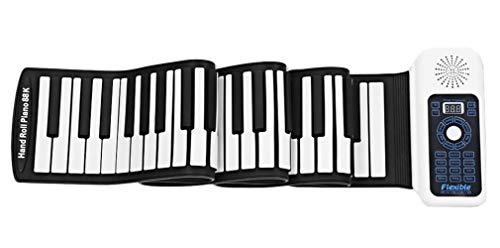 Icegrey Keyboard Klavier Aufrollen Elektronischer Klaviertastatur Flexibel und Tragbar mit Netz und Batteriebetrieb Weiß 81 Schlüssel