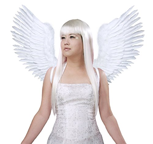 FashionWings (TM White Open Swing V Shape Costume Feather Angel Wings Adult Unisex