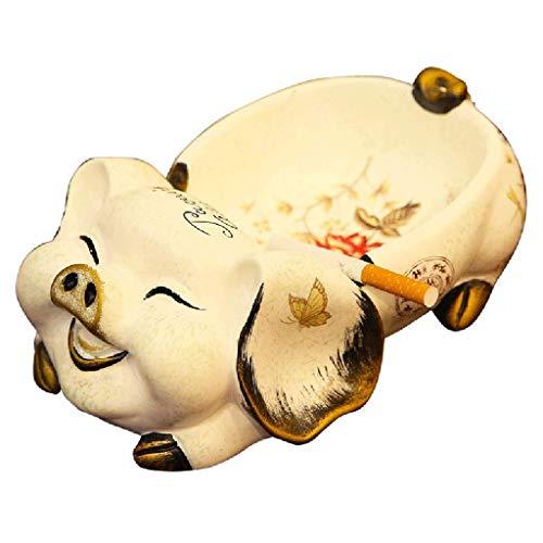 Cenicero amarillo con diseño de cerdo de la suerte, para decoración del hogar, con personalidad europea, 22 cm de color amarillo, tamaño: 22 x 14 x 9 cm