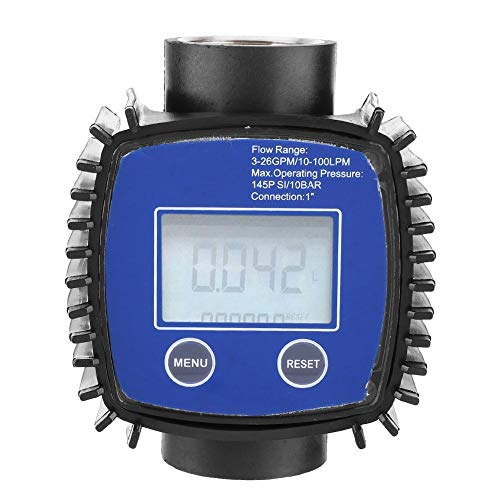 """Medidor de flujo digital de 1"""", medidor de flujo diesel de agua de alta precisión multipropósito, medidor de flujo para manguera de jardín, para diesel, gasolina, urea, líquido químico, agua, aceite"""