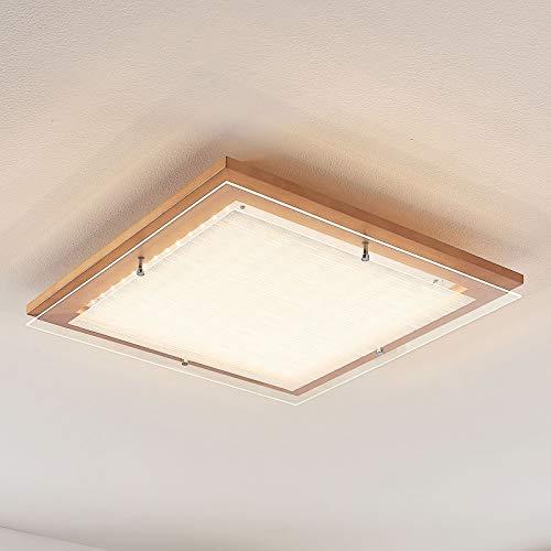 Lampenwelt LED Deckenlampe 'Cattleya' (Landhaus, Vintage, Rustikal) aus Holz u.a. für Wohnzimmer & Esszimmer (A+, inkl. Leuchtmittel) - Deckenleuchte, Lampe, Wohnzimmerlampe